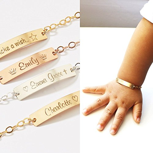 Custom Child ID Bracelets Girls Boys-Name and Phone number-Adjustable Baby Toddler-Personalized Bar-14K Gold Filled-Rose-Silver-CG322B_1.25