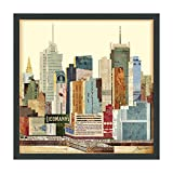 Empire Art Direct ''New York City Skyline B'' Dimensional Art Collage Hand Signed by Alex Zeng Framed Graphic Wall Art