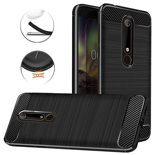 Nokia 6.1 Case, Nokia 6 2018 Case, Dretal Carbon Fiber Shock Resistant Brushed Texture Soft TPU Phone case Anti-fingerprint Flexible Full-body Protective Cover For Nokia 6.1 2018 (Black)