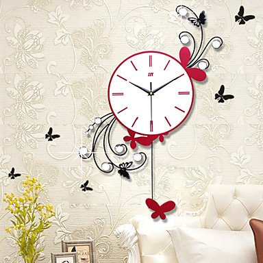 Above Antique Style Clock (Modern Style Creative Fashion Swing Iron Mute Wall)