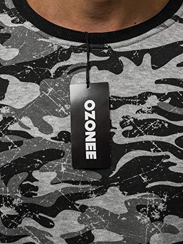 Ozonee 633b Maniche Mix ozonee Grigio A Felpa Uomo 777 Motivo Sportivi Lunghe Maglia Pullover rrpqxCZO