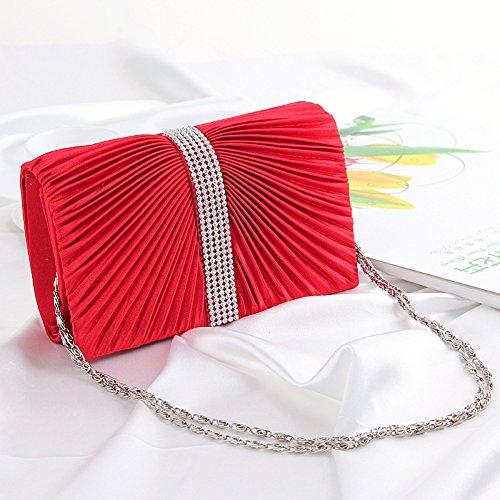 Noche de moda bolso mujer plisada diamantes de imitaci¨®n cadena bandolera , big red rose red
