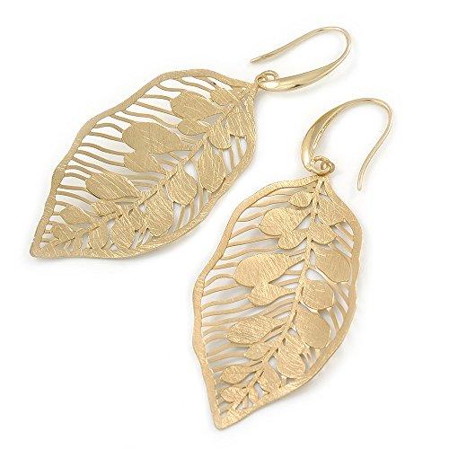 Brushed Gold Tone Leaf Earrings - 68mm L