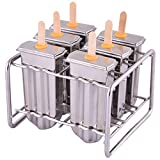 homemade soda pop machine - Stainless Steel Popsicle Mold and Rack Homemade Frozen Treat Maker for Toddlers Kids Adults - Set of 6 Ice Pop Maker with 50 Reusable Bamboo Sticks 10 Silicone Seals 20 Pop Bags and 1 Cleaning Brush