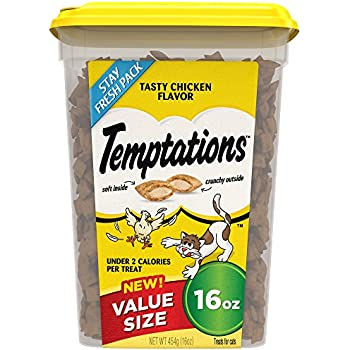 Temptations Classic Treats for Cats Tasty Chicken Flavor 16 Ounces; With Our Mouthwatering Menu We Have a Flavor For Every Feline