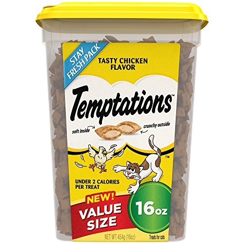 TEMPTATIONS Classic Treats for Cats Tasty Chicken Flavor, 16 oz. Tub ()