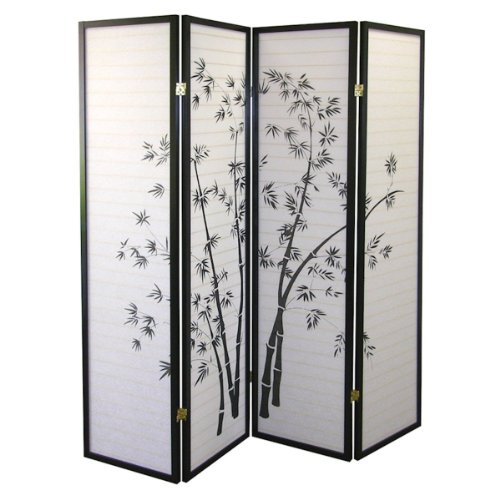 Four Panel Natural Framed Screen (4 Panel Black Framed Bamboo Print Room Screen Divider)