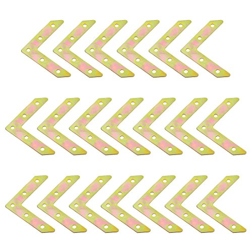 uxcell 77mm x 77mm x 1mm Metal L Shape Corner Brace Flat Mending Plates Brackets 20pcs ()