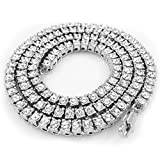 4 piece gold grill - 14K White Gold Plated Iced Out 1 Row Tennis Necklace, 36 Inches