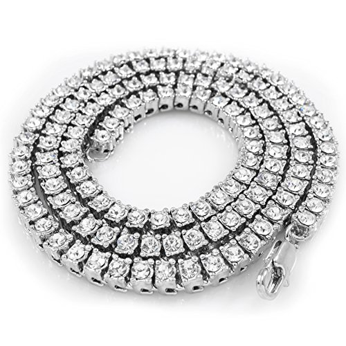 14K White Gold Plated Iced Out 1 Row Tennis Necklace, 36 Inches (Solid 14k Brass Plated Gold)