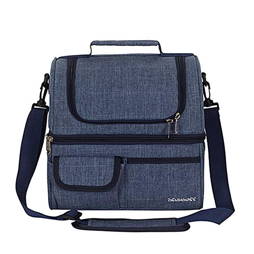 JHhome Leakproof Reusable Insulated Cooler Lunch Bag - Double Compartments Lunch Box Organizer with Cooling for Men Women Work Picnic Hiking Beach Park Day Trip
