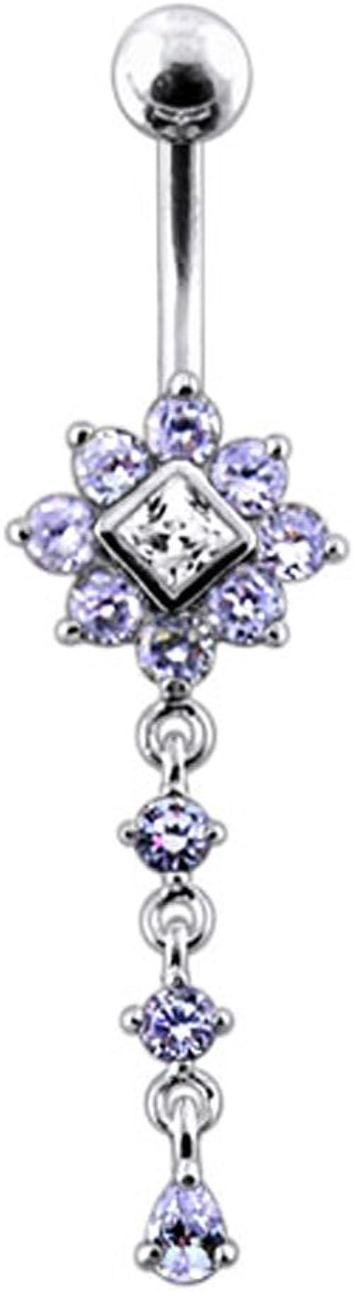Sterling Silver /& CZ Crystal Flower Belly Bar