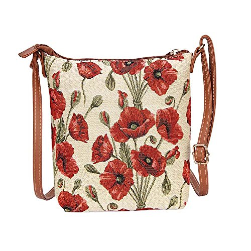 Signare Ladies Tapestry Lightweight Top Zip Cross body Bag Sling Bag with Adjustable Strap with Poppy Flower (SLING -POP) (Top Woven Zip Satchel)