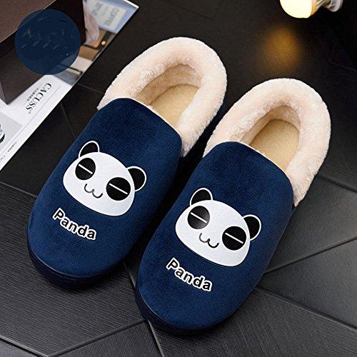Inverno Womens Mens Casa Di Pelliccia Casa Pantofole Antiscivolo Velluto Peluche Allinterno Coppie Pantofole Casa Blu