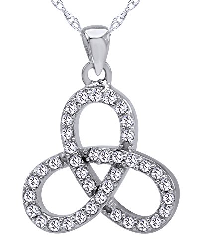Wishrocks Round Cut White Cubic Zirconia Celtic Trinity Knot Pendant Necklace in Sterling Silver