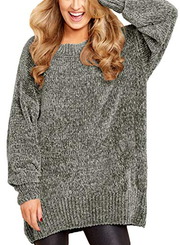 ZKESS Women Round Neck Oversized Knitted Chunky Sweater Top Jumper Pullovers Grey XL 16 18