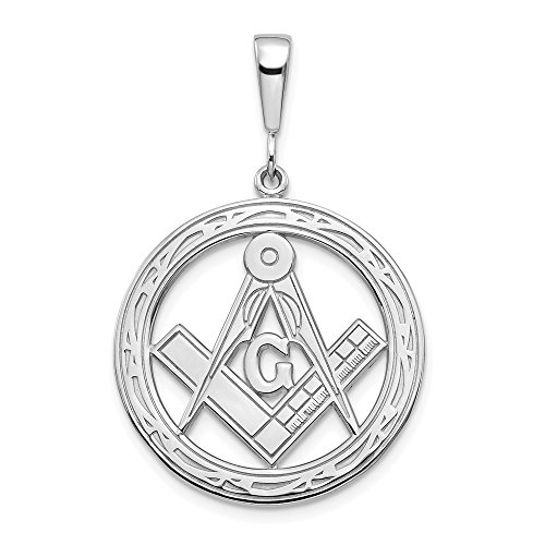 14k White Gold Large Masonic Freemason Mason Pendant Charm Necklace Career Professional Man Fine Jewelry Gift For Dad Mens For Him