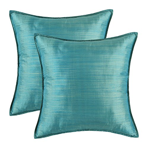 Pack of 2, CaliTime Silky Throw Pillow Covers Cases for Couch Sofa Bed, Modern Light Weight Dyed Striped, 26 X 26 Inches, Teal