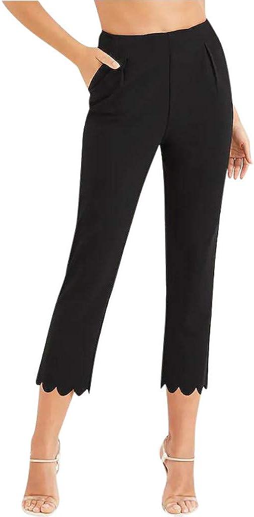 UOFOCO Women Fashion Pocket Zipper High Waist Pants Casual Shell Hem Suit Leggings