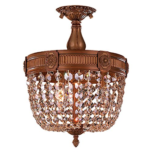 Worldwide Lighting Winchester Collection 3 Light French Gold Finish and Golden Teak Crystal Semi Flush Mount Ceiling Light 12