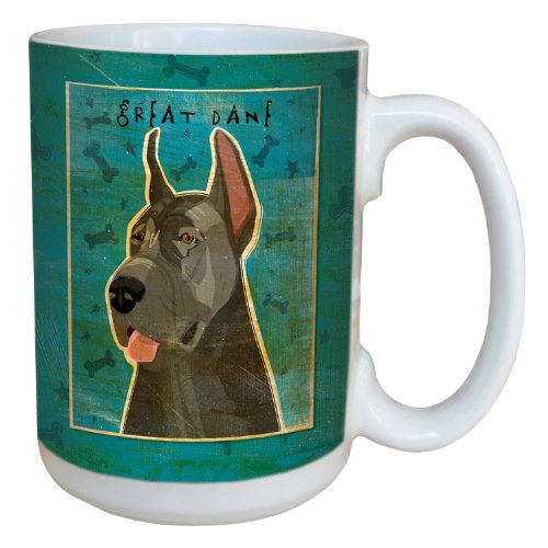 Tree-Free Greetings sg44030 Blue Great Dane by John W. Golden Ceramic Mug with Full-Sized Handle, (Great Dane Merchandise)