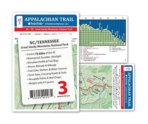 Appalachian Trail Map AT 3 GSMNP Great Smokey Mountains National Park AT Pocket Profile