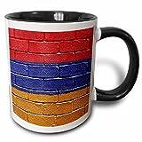 3dRose Carsten Reisinger Illustrations - National flag of Armenia painted onto a brick wall Armenian - 11oz Two-Tone Black Mug (mug_155173_4)
