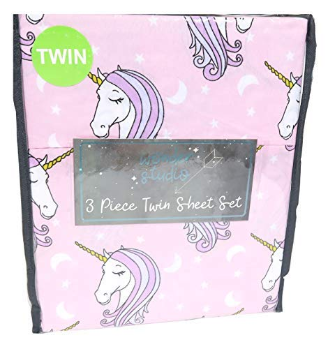 Wonder Studio Pretty Pink Unicorn Twin Sheet Set from Wonder Studio