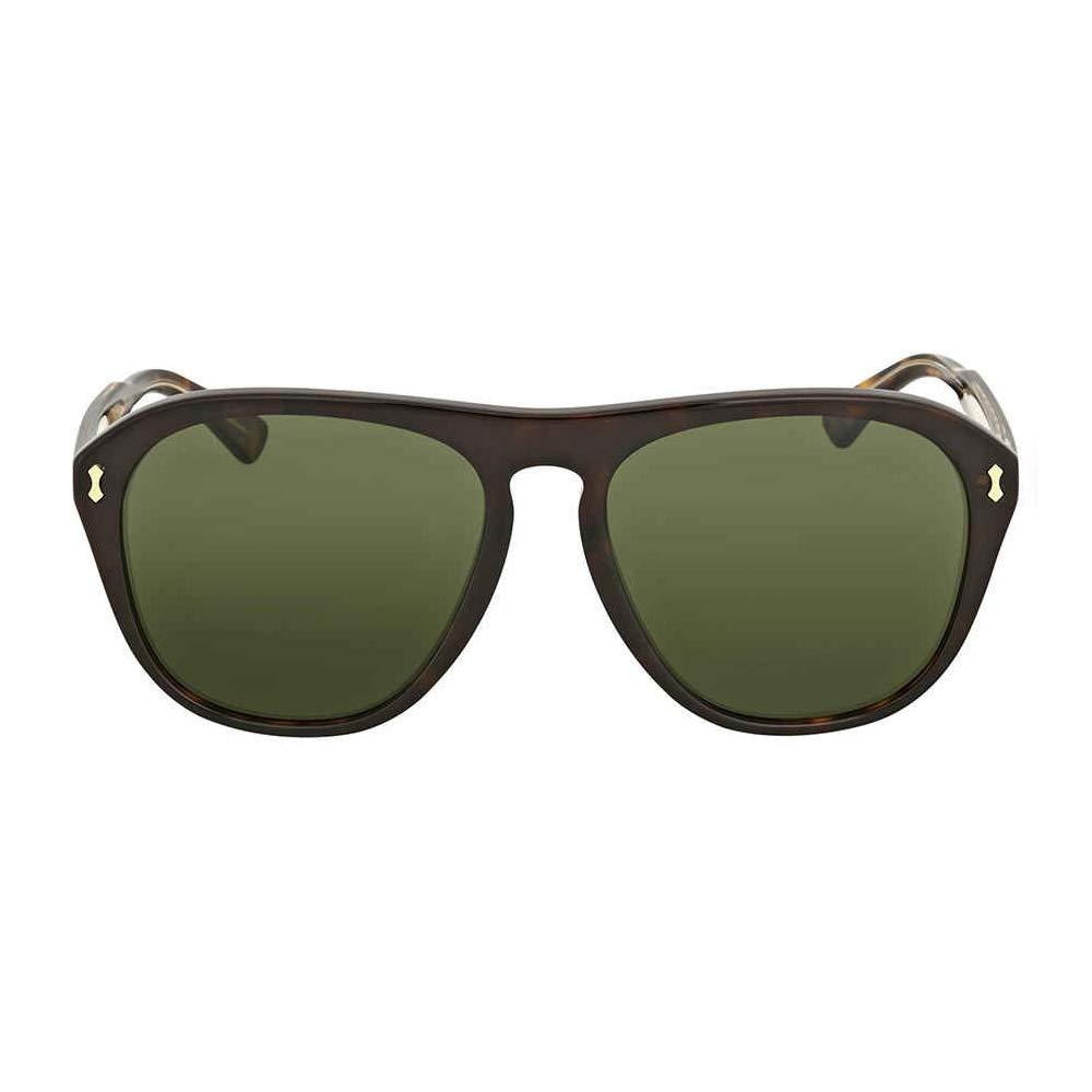 43ff0aa7d0 Amazon.com: Gucci GG0128S Sunglasses 001 Havana / Green Lens 56 mm: Clothing
