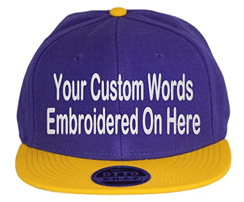 (Custom Snapback Hat. Otto. Embroidered. Your Own Text Flatbill Bill Snapback. (Purple/Yellow Gold Bill))
