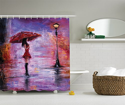 Blue Lady Painting - Ambesonne Lakehouse Decor Collection, Oil Painting View Alone Young Woman Holding Umbrella near a Retro Street Lamp at a Rainy Night, Polyester Fabric Bathroom Shower Curtain, Red Purple Blue