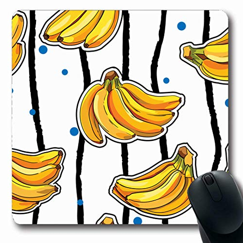 Ahawoso Mousepads Tea Green Cake Pattern Yellow Bananas On Ingredient Food Drink Cream Flavor Perfume Berry Fruits Oblong Shape 7.9 x 9.5 Inches Non-Slip Gaming Mouse Pad Rubber Oblong - Drink Berry Banana