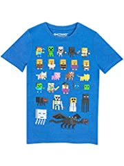 Kids Minecraft t-shirt with character print. Classic Minecraft tee with short sleeves, round neckline and character print featuring Steve, the green creeper and many more. Made from soft cotton, this top is practical, cool and extremely comfo...