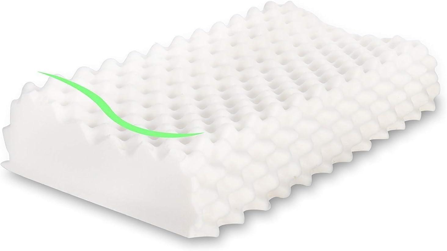 MaxHome Almohada de Látex Natural, Ortopédica y Terapéutica diseñada para reducir dolor de cuello cervical y espalda. Se adapta a la forma del cuello. 58cm x 35cm x 10/12cm