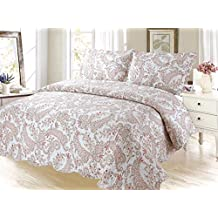 Coral Floral Printed Bedding 3 Piece Bedspread Quilt Set
