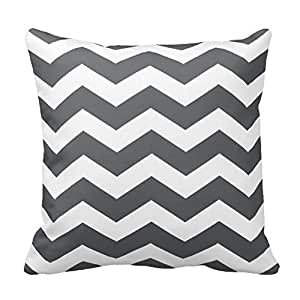 HSArtStore Black and White Wave Cotton linen decorative pillow pad cover square box 18 x 18 inch