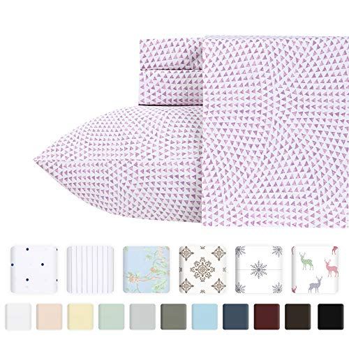 (400-Thread-Count 100% Pure Cotton Sheets - 4 Piece Sunrise Lavender Cal King Sheet Set Long-Staple Combed Cotton Bed Sheets Hotel Quality Fits Mattress Upto 18'' Deep Pocket Soft Sateen Weave)