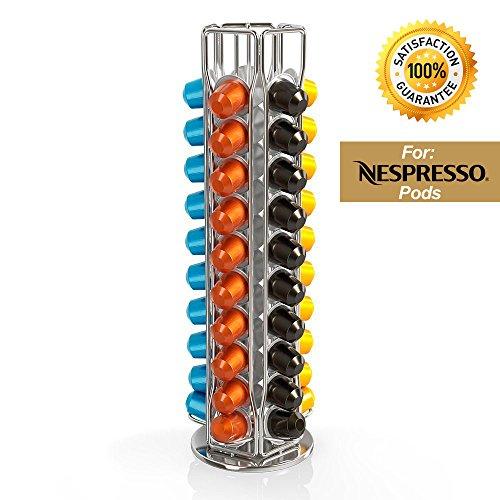 Torre Carrusel para Sostener 50 capsulas de cafe Nespresso Pods - Torre giratoria de 360 grados, diseño Elegante y Moderno...