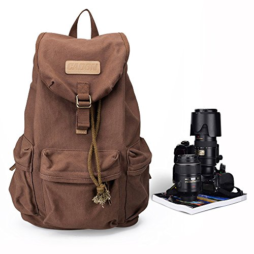 Canvas Vintage Camera Bag,Photography Lightweight Daypack Waterproof Anti-theft Compatible 1 Camera 3 Lens DJI Mavic Drone Backpack For Men Women Nikon Canon Sony DSLR SLR Case (Days Iii Canvas)