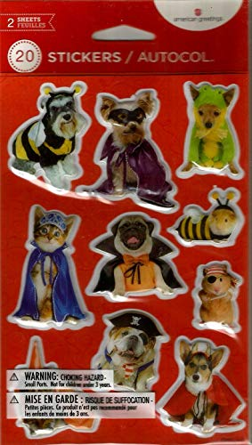 Dog Cat in Costume Pirate Bumble bee Vampire Hamster 1 pack-20 Stickers]()