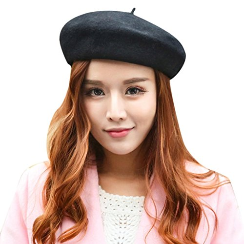 Leegor Women Simple Elegant Artist Solid Vintage Beret Hat Warm Comfortable Cap (Black)