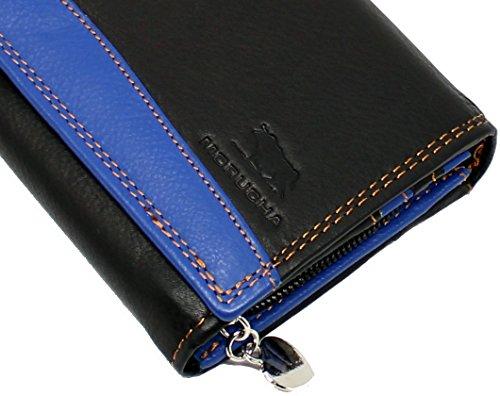 Borsa MORUCHA per le donne Cuoio genuino BLOCCO RFID | Alta capacità | Lembo lungo borsa lunga con tasca a cerniera Progettato per 12 carte e denaro M-10 (nero / blu)