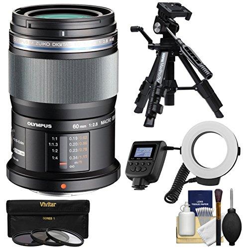 Olympus M.Zuiko 60mm f/2.8 MSC ED Macro Digital Lens (Black) with Tripod + 3 Filters + Macro Ring Light + Kit for Pen & OM-D Digital Camera