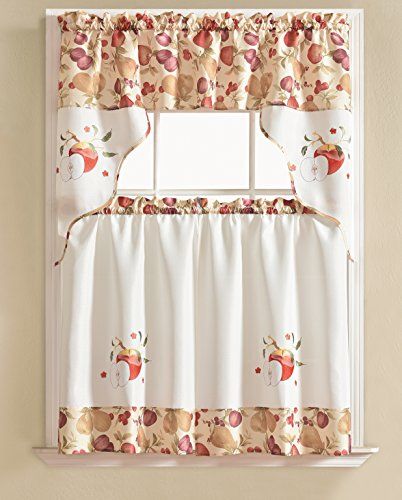 RT Designers Collection Urban Embroidered Tier and Valance Kitchen Curtain Set, Apple