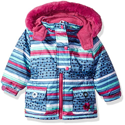 Wippette Baby Girls Striped SKI Jacket, Plum, 18M