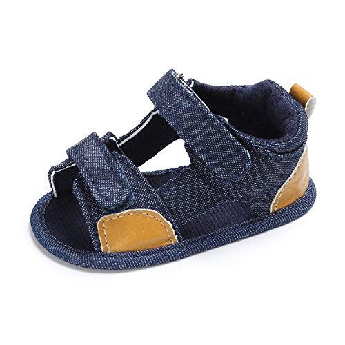 BENHERO Infant Baby Boys Girls Premium Soft Rubber Sole Anti-Slip Summer Prewalker Toddler Sandals (12cm(8-14months), Dark jeans)