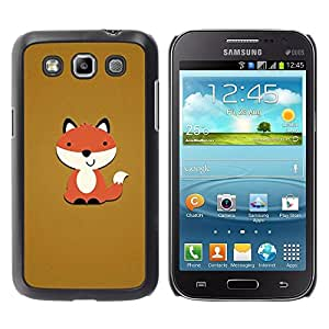 FECELL CITY // Duro Aluminio Pegatina PC Caso decorativo Funda Carcasa de Protección para Samsung Galaxy Win I8550 I8552 Grand Quattro // Brown Orange Cartoon Funny Sweet