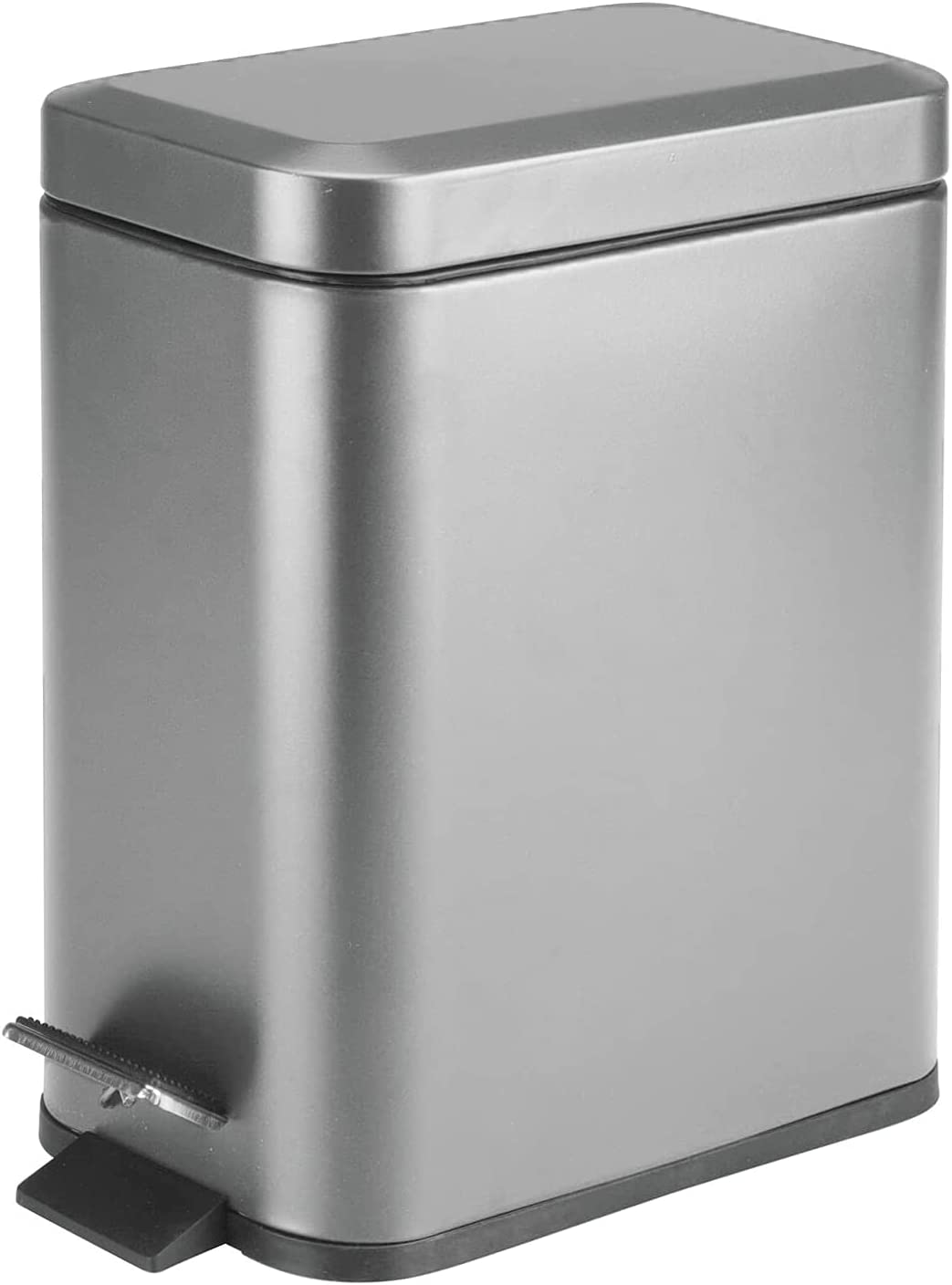 Soft Close Lid, Graphite Gray, Rectangular Trash Can 5L with Anti - Bag Slip Liner, Use as Small Waste Basket, Dust Bin, or Decor in Bathroom, Restroom, Kitchen, or Bedroom