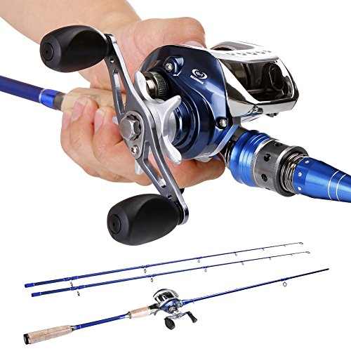 Sougayilang 2-Piece Baitcasting Fishing Rod with Fishing Reel Combos Left/Right ...