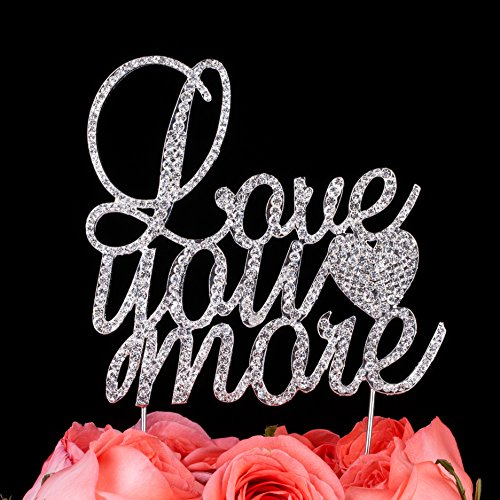 LOVENJOY with Gift Box Crystal Rhinestone Love You More Cake Topper for Wedding Engagement Special Events Decoration Silver (4.8-inch)